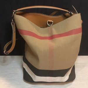 Burberry Ashby Canvas Bucket Bag w/pouch